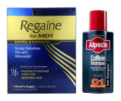 Regaine for Men Extra Strength Hair Regrowth Solution and Alpecin Hair Loss Shampoo
