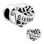 Sister I Love You Heart Family Tree Of Life Charms Sale Cheap Jewellery Bead fit Pandora Bracelet