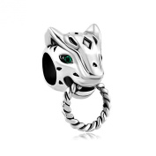 PugsterJewelry Women's Emerald Green Cz Eye Panther Animal Puma Cougar Bead Fits Pandora Charm Bracelet