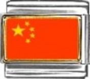 China Flag - enamel charm - 9mm Italian charm will fit Nomination classic bracelet
