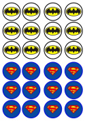 Batman vs Superman Edible Wafer Rice Paper 24 x 4.5cm Cupcake Toppers/Decorations