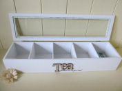 Shabby n Chic White Wooden Long Tea Box with 5 Compartments.Tea Slogan.Ideal Gift.