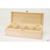 Artemio 27 x 10.5 x 8 cm 4-Case Wooden Tea Box, Beige