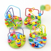 HuntGold 1X Baby Kids Wooden Around Beads Maze Intellect Educational Toy Christmas Gift