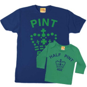 Pint and Half Pint Coordinating Father And Child T-Shirt Set Navy & Green