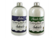 2 Bottles of Bath Salts - Relax & Muscle Soak - Lavender, Ylang Ylang, Mandarin & Grapefruit - Spa Bath Salts - 100% Epsom Salts