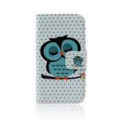 Amonfineshop(TM) Cute Sleeping Owl Flip Leather Case Cover For iPhone 4 4G 4S