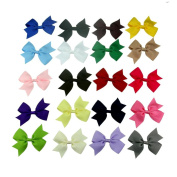 Janecrafts 20pc 7.6cm Boutique Windmill Style Hair Bows Girls Baby Alligator Clip Grosgrain Ribbon Headbands