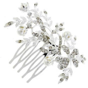 Funky Floral Glass Crystal Floral Hair Comb BHC150 Slide - Free Gift Pouch / ...