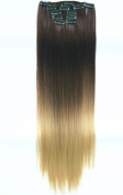 60cm Full Head Clip in Hair Extensions Ombre Straight Dip Dye 6 Pcs Dark brown to sandy blonde