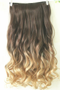 60cm Full Head Clip in Hair Extensions Ombre Wavy Curly Dip Dye 6 Pcs Dark brown to sandy blonde