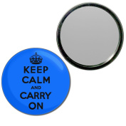 Blue Keep Calm and Carry On - 77mm Round Compact Mirror