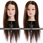 2 X Hairdressing 75% Professional Real Hair 60cm Training Mannequin Head w/Clamp For College and Professional Use