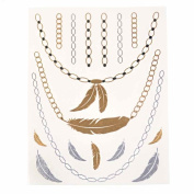 Metalic Gold / Silver Temporary Tattoos, Shimmer Tattoo, Feather Necklace