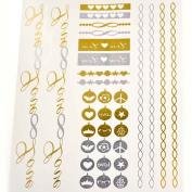Metalic Gold / Silver Temporary Tattoos, Shimmer Tattoo, Love and Charms