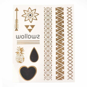Metalic Gold / Silver Temporary Tattoos, Shimmer Tattoo, Swallow