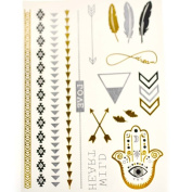 Metalic Gold / Silver Temporary Tattoos, Shimmer Tattoo, Eyes and Arrows