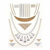 Metalic Gold / Silver Temporary Tattoos, Shimmer Tattoo, Triangle and chain