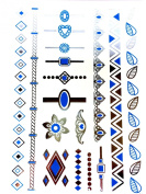 METALLIC TEMPORARY FLASH TATTOOS SILVER TURQUOISE BODY ART 6 DESIGNS [23]
