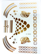 METALLIC TEMPORARY FLASH TATTOOS SILVER BLACK GOLD BODY ART 6 DESIGNS [20]