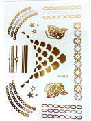 METALLIC TEMPORARY FLASH TATTOOS SILVER BLACK GOLD BODY ART 6 DESIGNS [20]