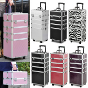 Popamazing Professional Large 4 in 1 Hairdressing Makeup Vanity Case Beauty Cosmetics Trolley
