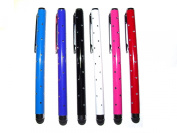 C63® [6 PACK] PURPLE, BLUE, BLACK, WHITE, PINK, RED PRO Luxury Stylus Pen Set with beautiful reflective stones. Touch Screen Stylus Pens for iPad Air, iPad Mini and Retina, iPhone 5 5S, 5C 6 Plus and All Touch Screen Devices [BUNDLE]