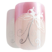 Bling Art False Nails French Manicure Pink Butterfly 24 Full Cover Medium Tips