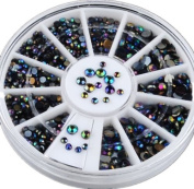 Ardisle Black 300pc Nail Art 3D Glitter Rhinestone Decoration AB. CRYSTAL Gem