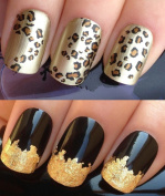 NAIL DECALS WATER TRANSFERS STICKERS ART SET #461. PLUS A LARGE GOLD LEAF SHEET FOR CUSTOM DESIGNED NAILS! LEOPARD OR CHEETAH SPOTS ANIMAL PRINT WRAPS & STUNNING 24KT GLIZZY GOLD LEAF FOR FULL HOLLYWOOD NAILS! ALL CAN BE USED WITH NATURAL GEL ACRYLIC S ..