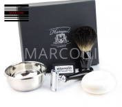 DOUBLE EDGE SAFETY RAZOR SHAVING SET Badger Hair Shaving Brush 4 MEN GIFT SET