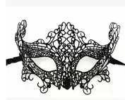 Goliton® Fashion sexy lace cutout mask half face mask Masquerade mask for Halloween,Prom,Dancing party etc.- Black