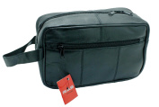 MEN'S GENUINE LEATHER TRAVEL WASH GYM TOILETRY BAG (BLACK) - 3510