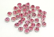 Pack of 100 Stunning Quality Sew on Glue on Point Back Glass Rhinestones in Flat back Silver & Gold Casings
