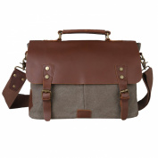 Kattee® Retro Designer mens canvas leather satchel messenger shoulder tote bag briefcase