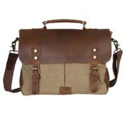 Kattee® Retro Designer mens canvas leather satchel messenger shoulder tote bag briefcase