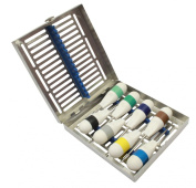 Surgical Instrument Specialists Dental Root Elevators Luxation Instruments Dentist Elevators Silicone Coated Set of 8 With Sterilisation Tray