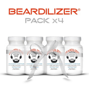Beardilizer® - #1 Facial Hair and Beard Growth Complex for Men (4 Pack) - 360 Capsules Powerful Nutrients Blend