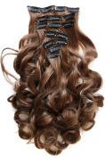 PRETTSHOP Clip In Hair Extensions 60cm 120g Set 7-Pcs Hairpiece Curled Wavy BLONDE - Full Head- Heat-Resisting