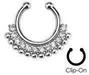 Paved Clear Gem Fan Non-Piercing - Fake Septum Clicker - Pierced & Modified Body Jewellery