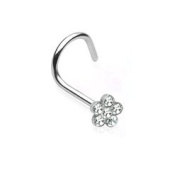 Surgical Steel Nose Stud - Clear Jewel Flower