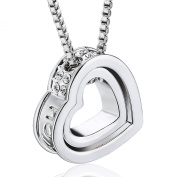 """Valentine Gifts MARENJA Gifts For Her-""""Eternal Love"""" Double Hearts Pendant Necklace for Women Engraved with """"I love you"""" Transparent Inlaid Austrian Crystal White Gold Plated Chain Length 40-45cm/15.7-17.7in-Valentine Gifts MARENJA Exclusive Collection .."""