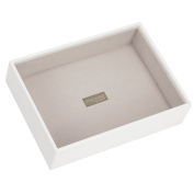 STACKERS 'CLASSIC SIZE' White Deep Open Section STACKER Jewellery Box with Grey Velvet Lining.