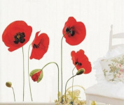 Red Poppy Flowers Removable Transparent Wall Art Decal Stickers