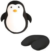 Kikkerland Polyester/ Spandex Zip and Flip Penguin Head Rest Travel Pillow, Black