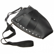 AnyMall(TM) Black Leather Rivet Scissors Clips Bag Hairdressing Holster Pouch Holder Waist Shoulder Belt Case