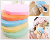 3PCS Natural Cellulose Compressed Essential BIG Oval Shape Soft Powder Puff Make Up Cosmetic Facial Cleansing Exfoliating Sponge Puff Makeup Buffer Remover Bathing Face Blemish Acne Body Scrub Wash Clean Skin Care Pad Tool Salon Spa Home Use in Retail ..