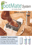 FOOTMATE® Shower & Bath Foot Scrubber Brush Feet Cleaning Kit (w) 2 Bottles of Foot Gel Cleaner & Finger Nail Brush