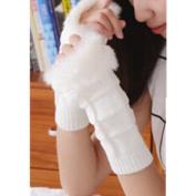 EVTECH(TM) New Women Ladies Winter Warm Knitted Faux Rabbit Fur Fingerless Gloves Mitten