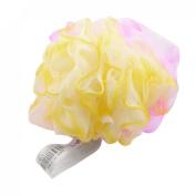 FOREVER YUNG Fuchsia Yellow Nylon Mesh Hole Bath Ball Body Wash Scrubber Shower Pouffe